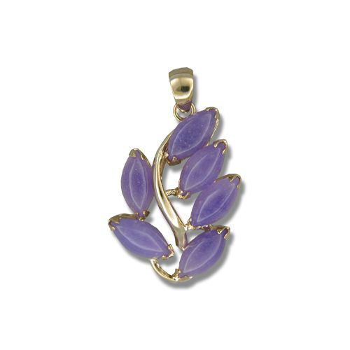 14KT Yellow Gold Leaf Design with Purple Jade Pendant