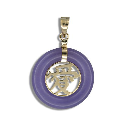 14KT Yellow Gold Chinese Character 'Love' in Circle Purple Jade Pendant