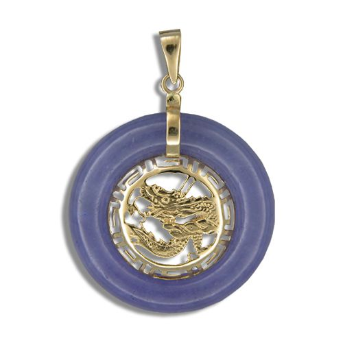 14K Gold Dragon in Circle Purple Jade Pendant