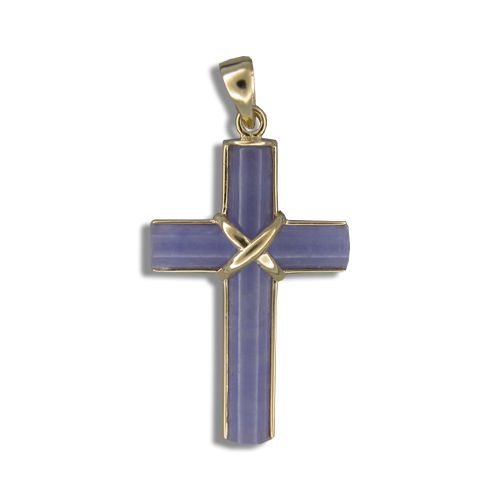 14KT Yellow Gold Purple Jade Cross Shaped Pendant