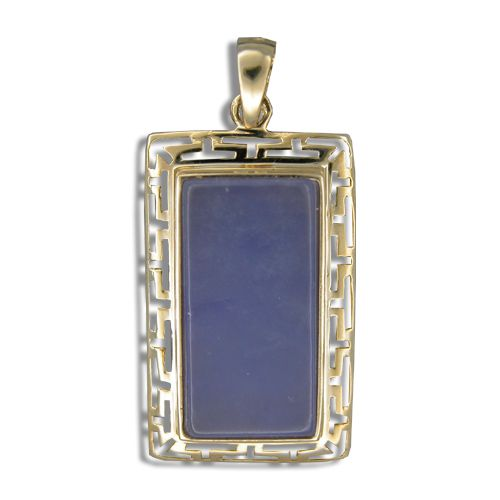 14KT Gold Cut-In Wavy Greek symbol Design with Rectangle Shaped Purple Jade Pendant