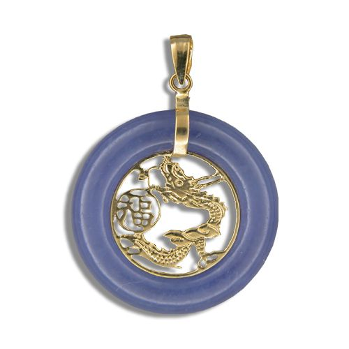 14KT Yellow Gold Donuts Shaped Purple Jade with Dragon Pendant