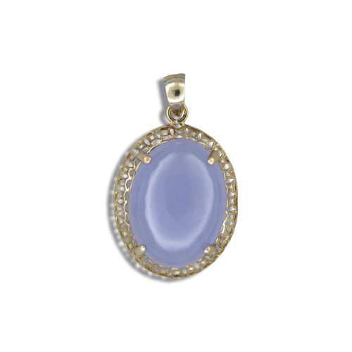 14KT Yellow Gold Cut-In Chinese Pattern Design with Oval Shaped Purple Jade Pendant