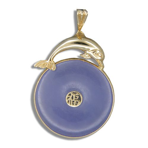 14KT Yellow Gold Dolphin with Good Fortune Symbol and Doughnut Shaped Purple Jade Pendant