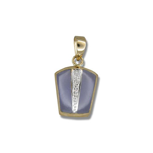 14KT Yellow Gold Bar with Diamond and Purple Jade Pendant