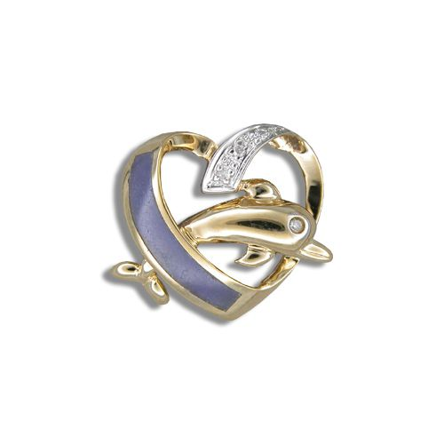 14KT Yellow Gold Purple Jade Dolphin in Heart Pendant with Diamond