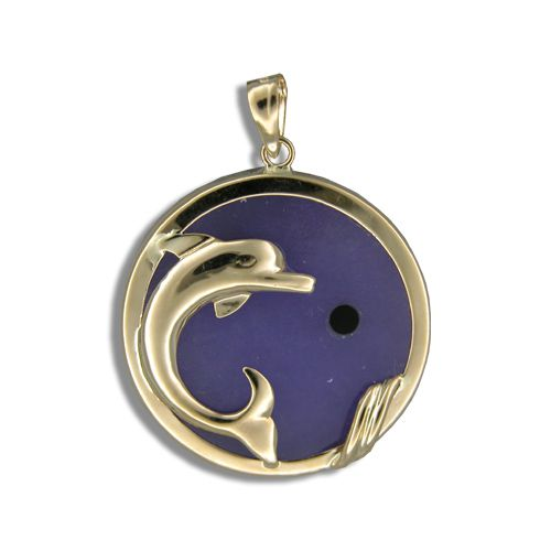 14KT Yellow Gold Dolphin with Round Shaped Purple Jade Pendant