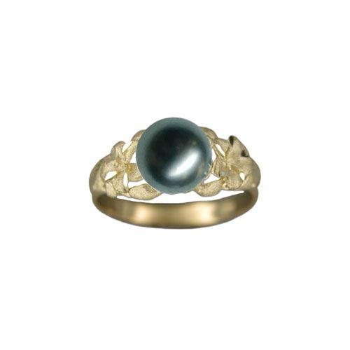 14KT Gold Hawaiian Plumeria Black Tahitian Pearl Ring