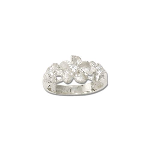 Sterling Silver Triple Hawaiian Plumeria Flowers Ring with CZ