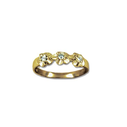 14KT Gold Plumeria Ring with stones.