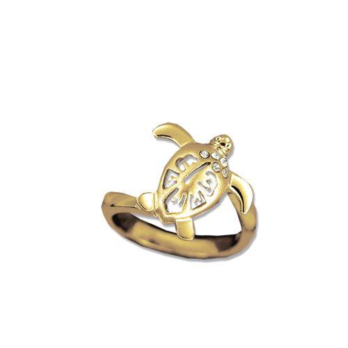 14kt Yellow Gold Hawaiian Hibiscus Honu Ring