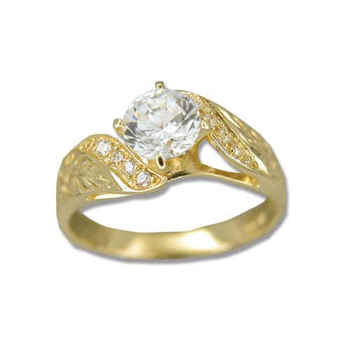 14kt Yellow Gold Hawaiian Hand Carved Scroll CZ Ring