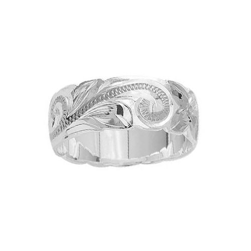 Sterling Silver 8MM Hawaiian Plumeria and Scroll Ring with Cut-Out Edge
