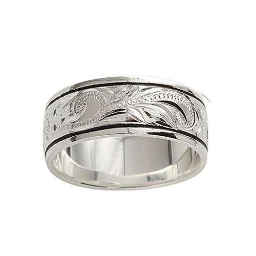 Sterling Silver 8MM Hawaiian Plumeria and Scroll Ring with Black Border