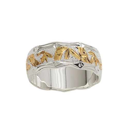Sterling Silver 8MM Hawaiian Two Tone Bamboo Design Ring