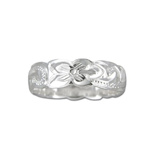Sterling Silver 6MM Hawaiian Plumeria and Scroll Ring with Cut-Out Edge