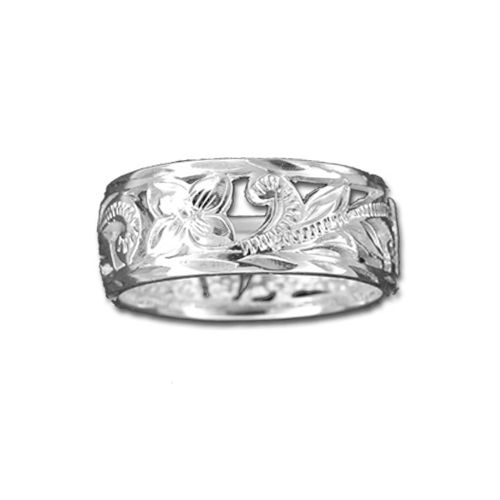 Sterling Silver 8MM Cut In Hawaiian Filigree Design Ring Band