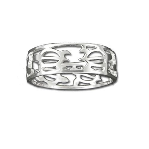 Sterling Silver Cut_In Hawaiian HONU Design with 8MM Ring Band