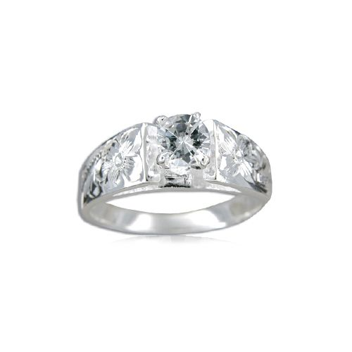 Sterling Silver Hawaiian Plumeria and Scroll with 0.5 ct. CZ Ring