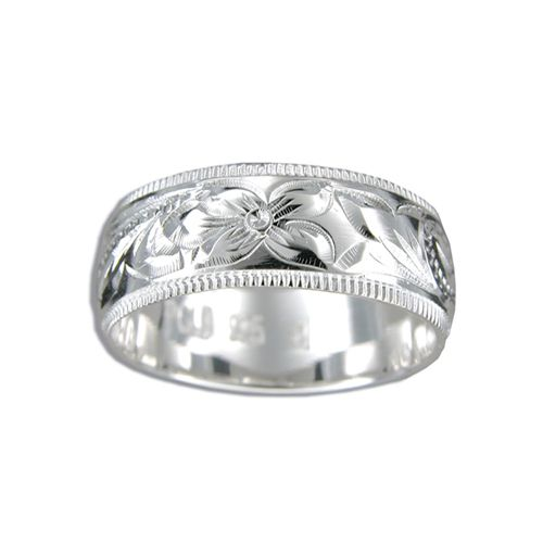 Sterling Silver 8MM Hawaiian Plumeria and Scroll Ring with Coin Edge