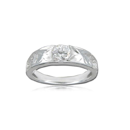 Sterling Silver Hawaiian Plumeria and Scroll with Tension Style CZ Ring