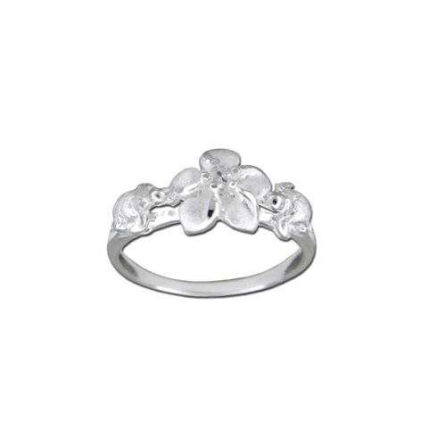 Sterling Silver Hawaiian HONU and Plumeria Ring with Clear CZ