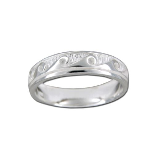 Sterling Silver Hawaiian Wave Design Ring