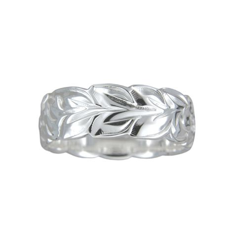 Sterling Silver 8MM Hawaiian Plumeria and Maile Leaf Ring with Cut-Out Edge