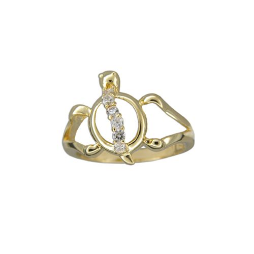 Sterling Silver Yellow Gold Coated Cut-Out Hawaiian HONU Ring with Clear CZ