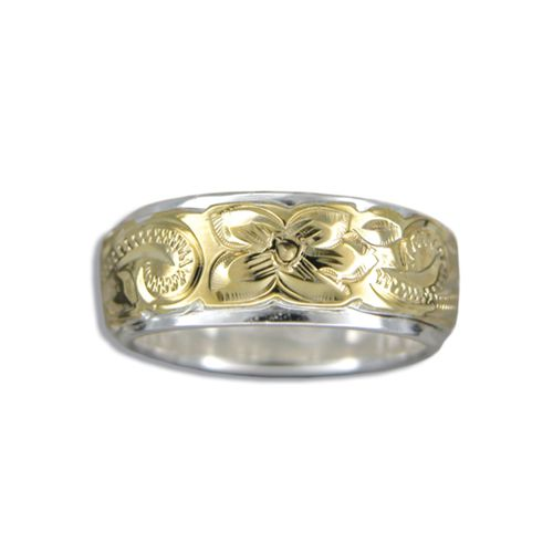Sterling Silver and Yellow Hawaiian Plumeria and Scroll Ring