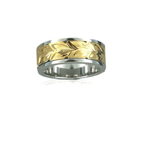 Sterling Silver Hawaiian 14K Yellow Two Tone Maile 8mm Ring Band