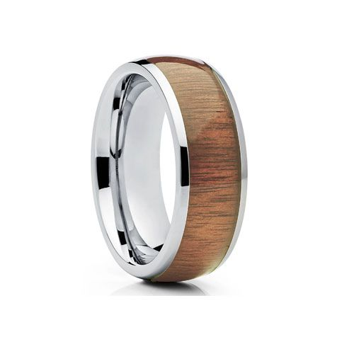 Sterling Silver Hawaiian Koa Wood Wedding Ring Band