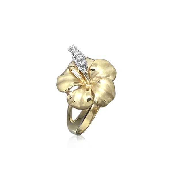 14KT Yellow Gold 15MM Hibiscus Ring with Diamond Stamens