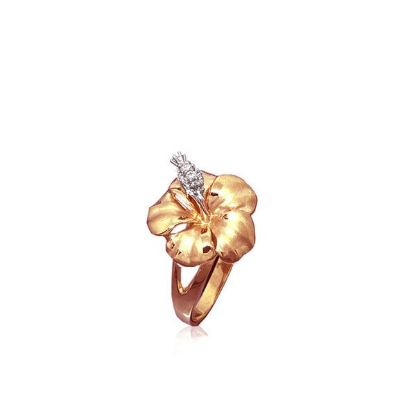 14KT Rose  Gold 12MM Hibiscus Ring with Diamond Stamens
