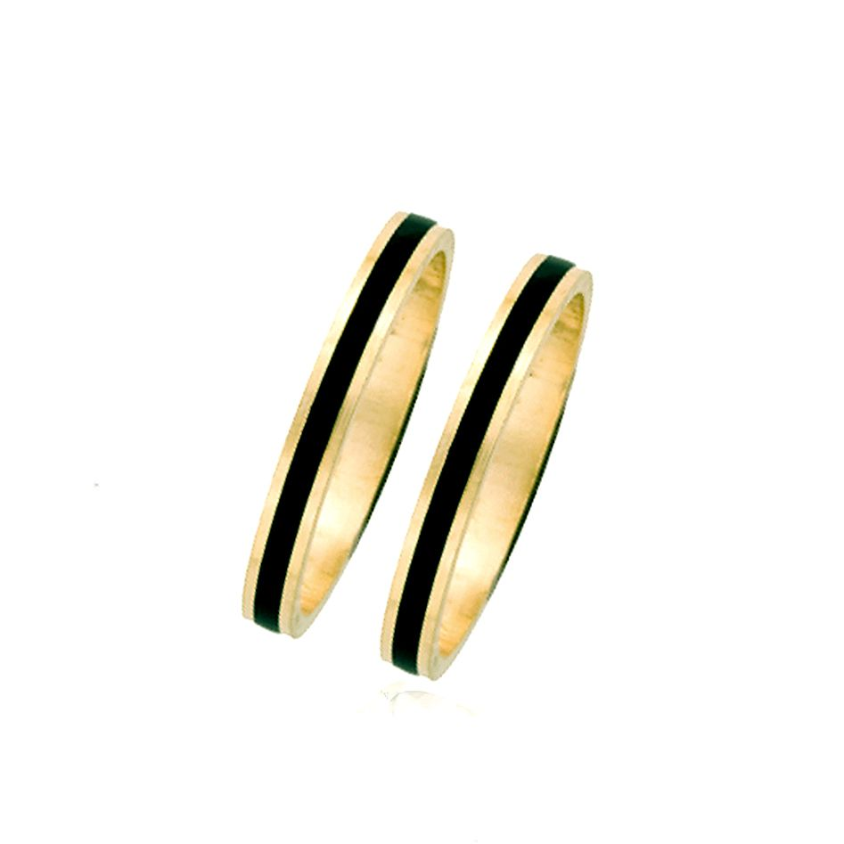 A Pair of 14KT Black Enamel Hawaiian Ring Guard (set of 2)