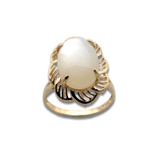 14KT Yellow Gold Cut-Out Flower Design with Oval Shaped MOP (Mother of Pearl Shell) Ring