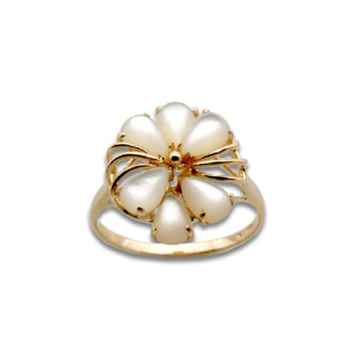 14KT Yellow Gold Fancy Six-Petal Plumeria with MOP (Mother of Pearl Shell) Ring
