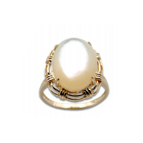14KT Yellow Gold Cut-In Rope Design with Oval Shaped MOP (Mother of Pearl Shell) Ring