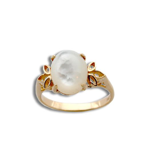 14KT Yellow Gold Cut Out Leaf with Oval Shaped MOP (Mother of Pearl Shell) Ring