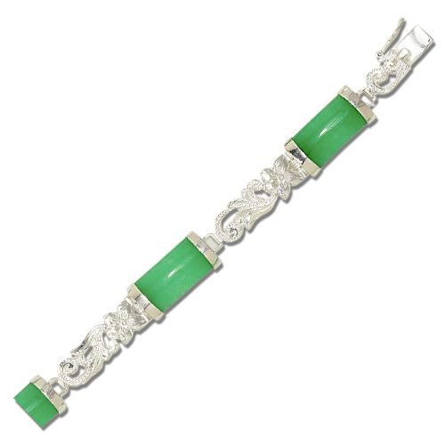 Sterling Silver Hawaiian Plumeria and Scroll with Long Bar Green Jade Bracelet