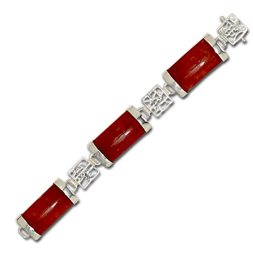 Sterling Silver Chinese Characters with Red Jade Bracelet