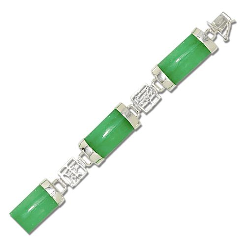Sterling Silver Chinese Characters with Green Jade Bracelet