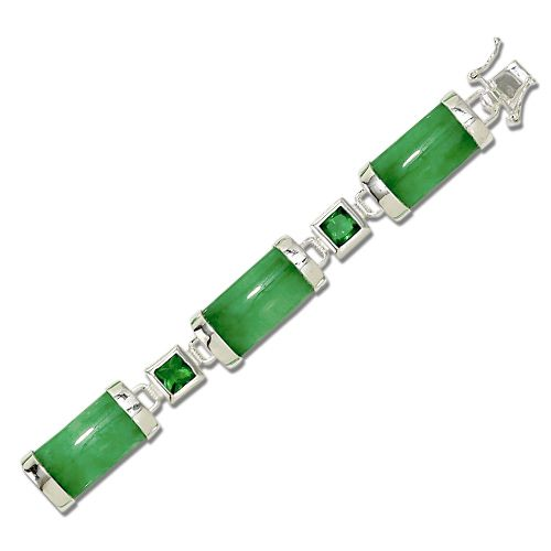 Sterling Silver Good Fortune Green Jade Bar with Green CZ Bracelet