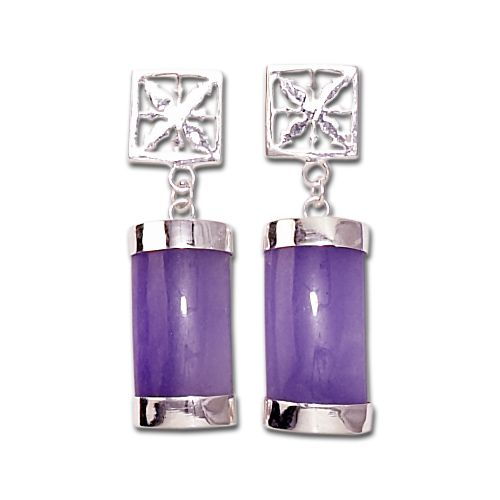 Sterling Silver Hawaiian Pineapple Quilt with Purple Jade Earrings