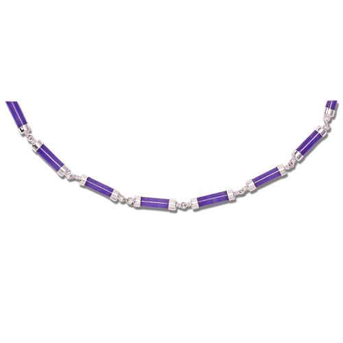 Sterling Silver Purple Jade Tube Necklace
