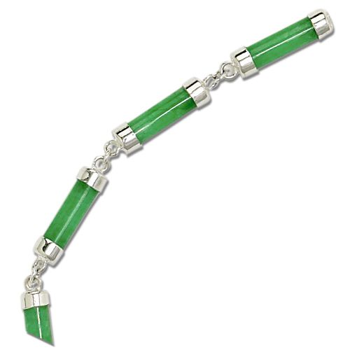 Sterling Silver Green Jade Tube Necklace