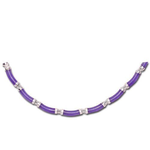 Sterling Silver Longevity Purple Jade Curve Necklace