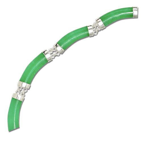 Sterling Silver Longevity Green Jade Curve Necklace