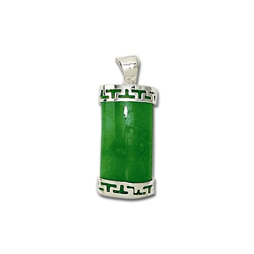 Sterling Silver Green Jade Rectangle Pendant