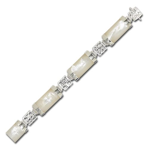 Sterling Silver Chinese Characters with MOP (Mother of Pearl Shell) Bracelet
